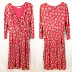 Boden Orange Polka Dot Wrap Dress Sz 14